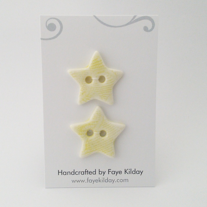 Ceramic Buttons Yellow Stars - Set of 2