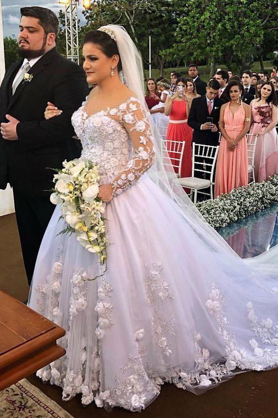 floral wedding dresses ball gown lace applique long sleeve elegant 2021 wedding