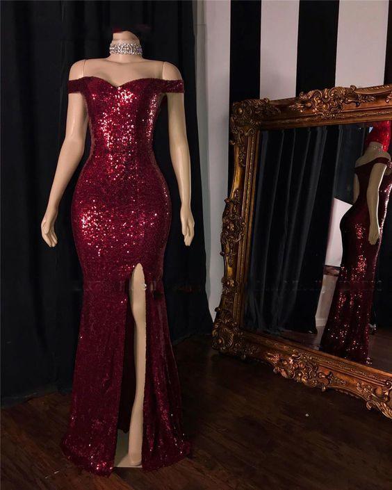 burgundy sparkly evening dresses long mermaid off the shoulder sequin elegant