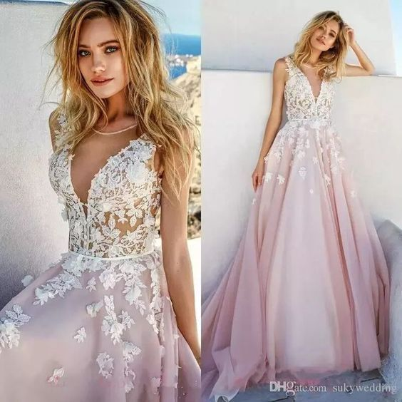 lace applique floral prom dresses 2020 v neck sleeveless elegant pink prom gown