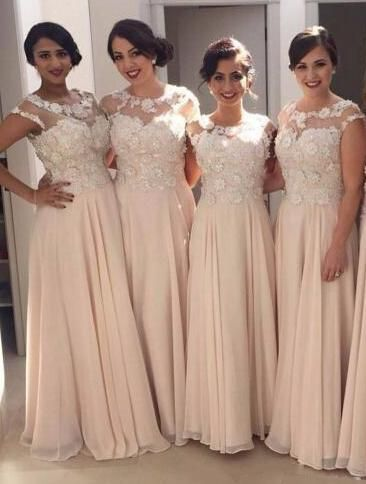 champagne bridesmaid dresses long lace applique beaded floral elegant cheap