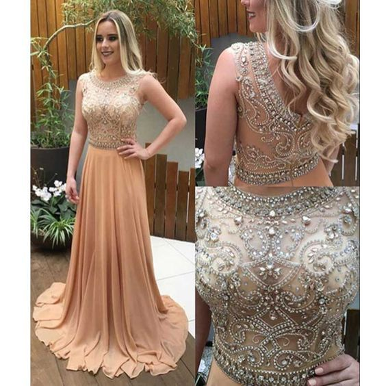 peach beaded prom dresses long chiffon vintage crystals elegant a line cheap
