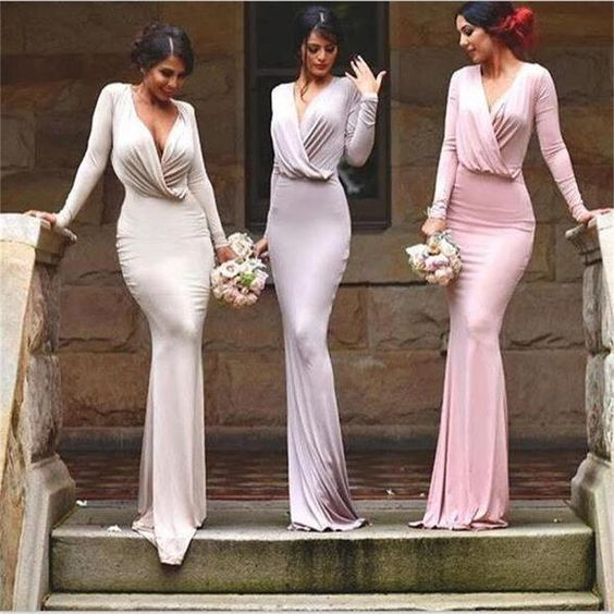 muslim bridesmaid dresses long sleeve deep v neck pink elegant mermaid cheap