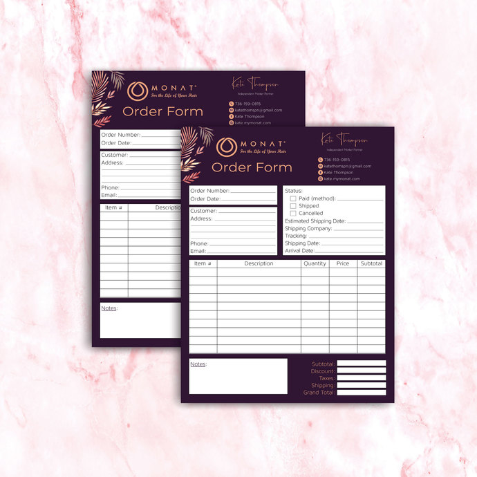 Personalized Order Form, Monat Invoice Form, Company Invoice Template, Monat
