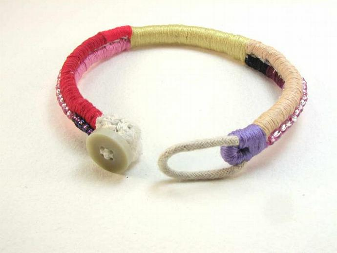 wrapped and beaded anklet ankle bracelet colorful beach anklet handmade artifact