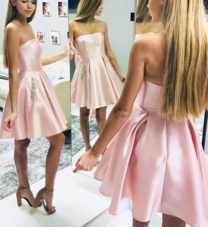 Pink satin short prom dress pink homecoming dress