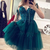 Green v neck tulle lace short prom dress lace homecoming dress