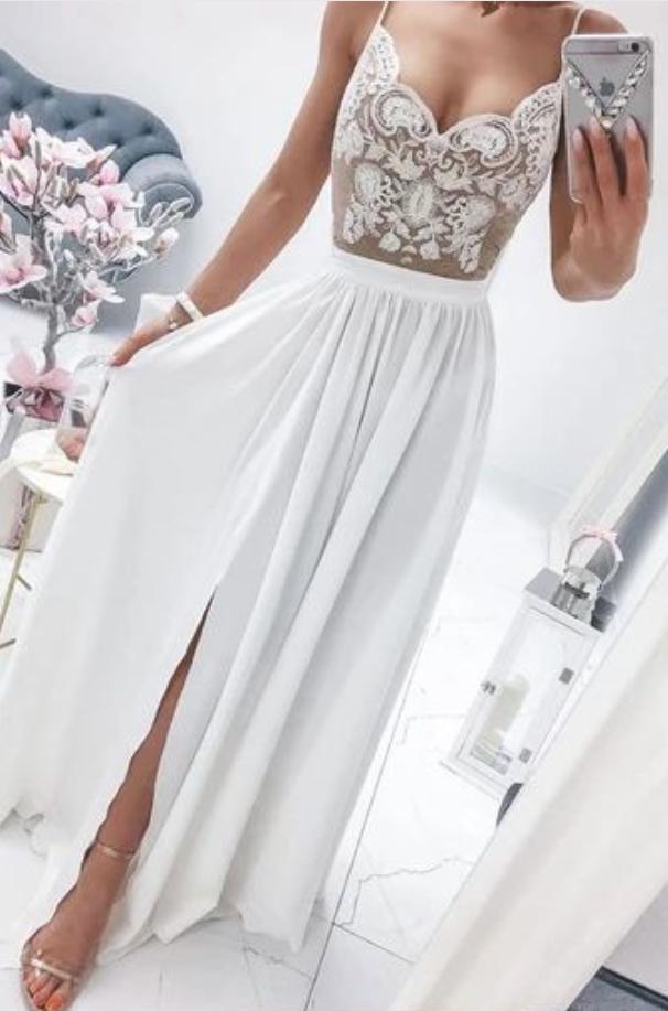 White sweetheart lace chiffon long prom dress white formal dress