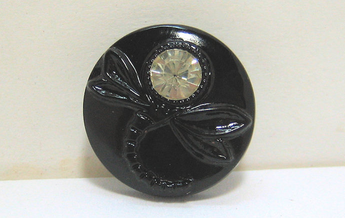 Vintage Black Glass Dragonfly Button with Rhinestone