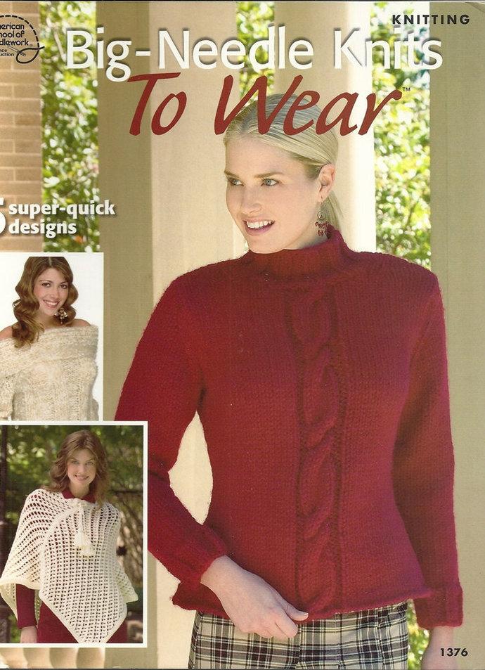 Women's Big Needle Knits To Wear Knitting Pattern Leaflet ASN 1376 Off Shoulder