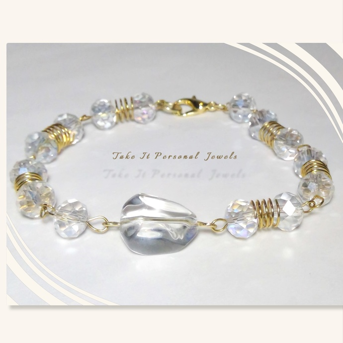 Crystal and Gold wirework bracelet Wire Wrapped Jewelry