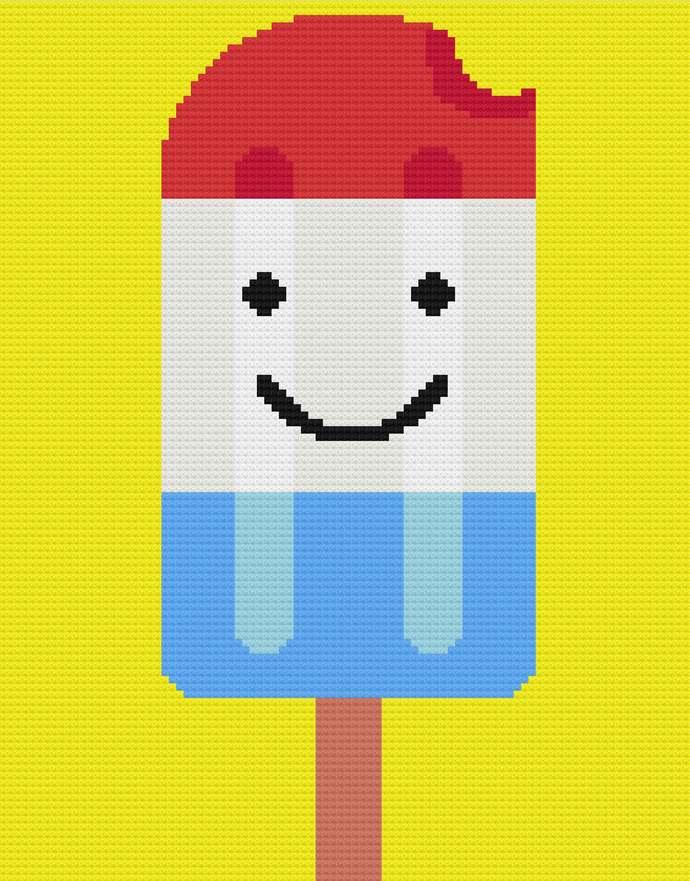 Popsicle Ice Lolly Frozen Dessert Twin Blanket C2C Crochet Pattern Corner to