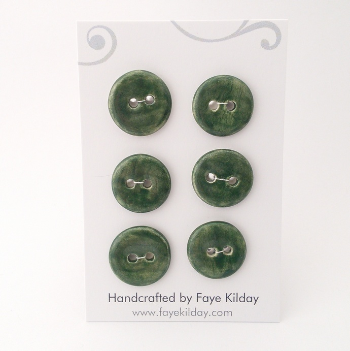Ceramic Buttons Green Circles - Set of 6