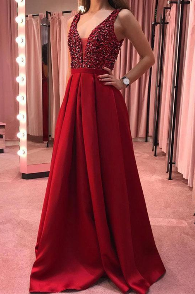 Fashion V neck Red Long Prom Dress, Beaded Homecoming Dress