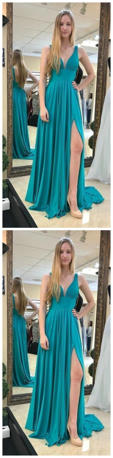 Sexy V neck Red High Slit Long Evening Party Dress, Prom Dresses