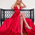 Sexy Deep V neck Red High Slit Long Evening Party Dress, Prom Dresses