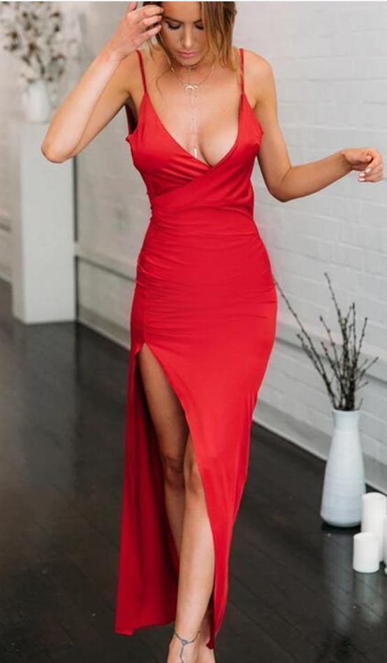 Sexy Deep V neck Red Slit Evening Party Dress