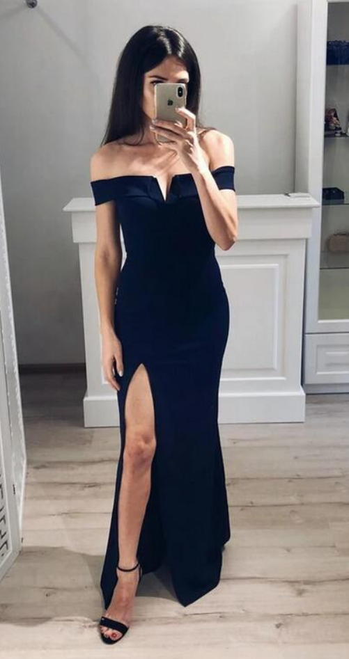 Simple Slit Evening Dress, Mermaid Long Prom Dress