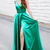 Sexy V neck Green Evening Dress, Formal Long Prom Dresses with Leg Slit