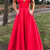 Charming V neck Red Evening Dress, Formal Long Prom Dresses, Women Dress