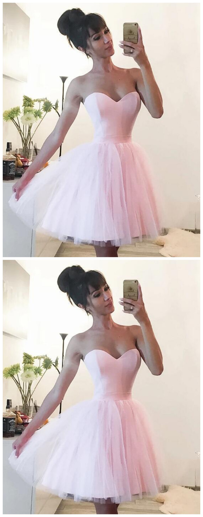 Sweetheart neck Tulle Pink Short Homecoming Dress, Prom Gowns