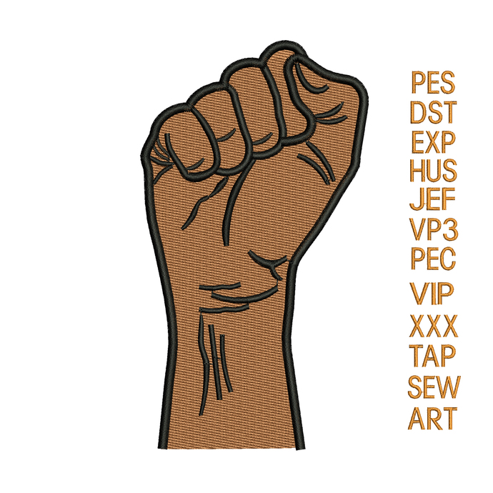 hand fist embroidery design,hand fist embroidery pattern,raised fist embroidery