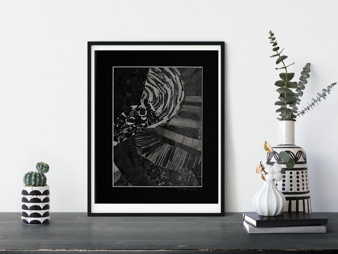 Small abstract, Original collage black gray, original abstract,Small art, dark
