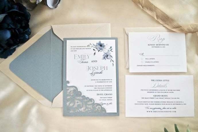 Dusty Blue Wedding Invitation, Dusty Blue Laser Cut Wedding Invitation, floral