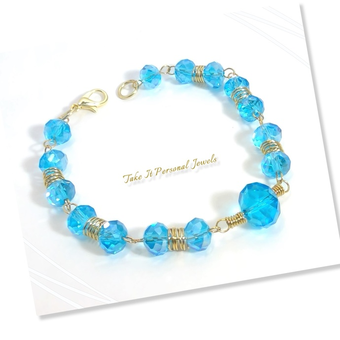 Blue Crystal and Gold wirework Bracelet Wire Wrapped Jewelry Crystal Art you can