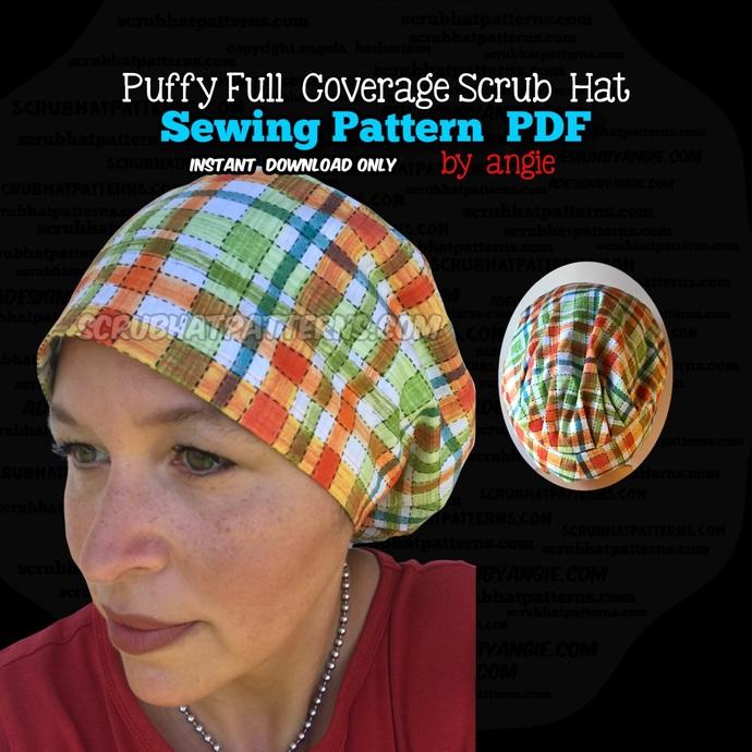 Full Coverage Scrub Hat Printable DIY Sewing Pattern PDF Download