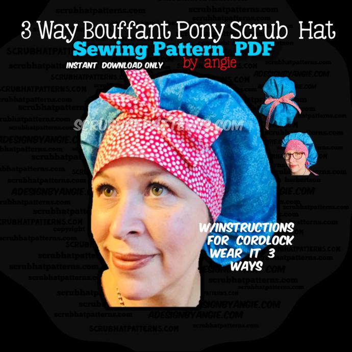 Ponytail Bouffant Tieback Scrub Hat DIY PDF Printable Sewing Pattern