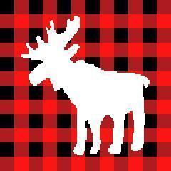 Buffalo Plaid Christmas Moose Silhouette C2C Crochet Pattern Corner to Corner