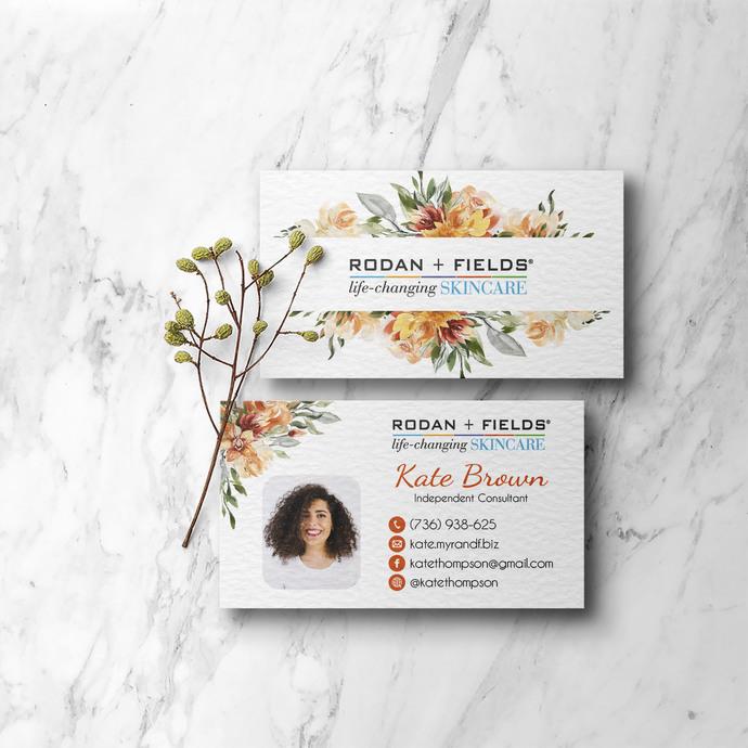 Orange Floral Rodan & Fields Business Cards, Personalized Rodan & Fields Cards