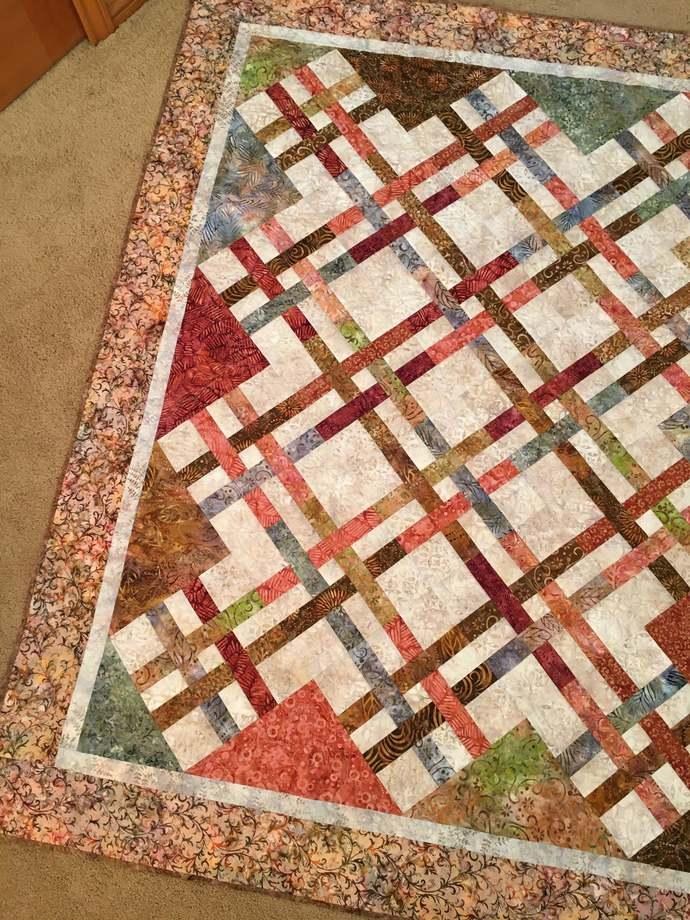 Handmade Quilt Batik Patchwork Throw Homemade Home Decor Lattice Pattern