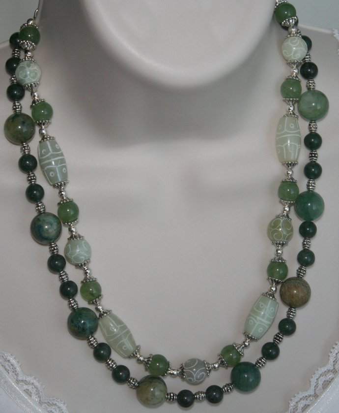 Carved Jade Statement Necklace, Green Jade Jewelry, Multi-strand Necklace