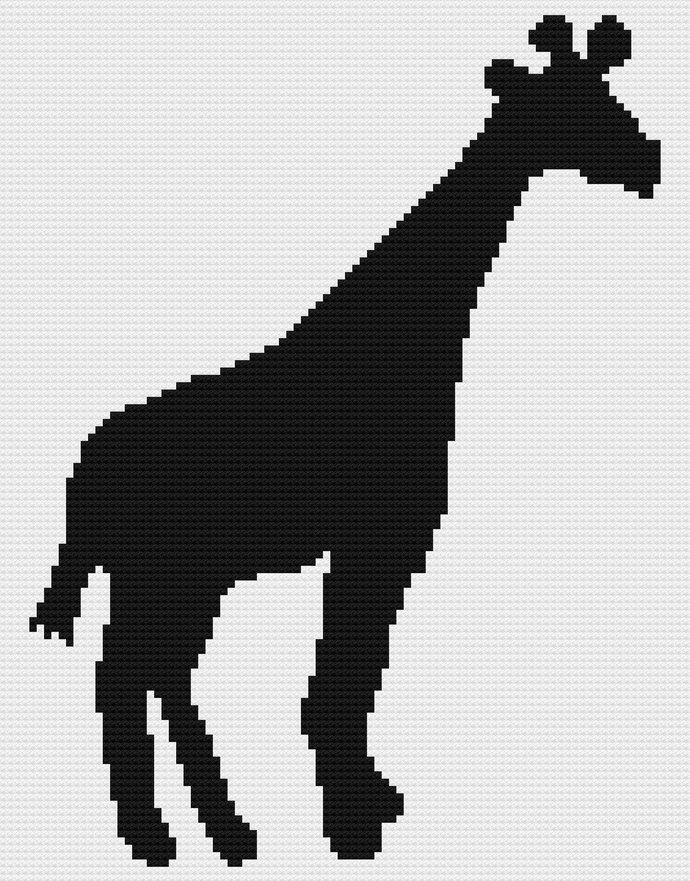 Giraffe Black Silhouette C2C Crochet Pattern Corner to Corner Twin Size Blanket Afghan Graphghan Zoo Wildlife Savannah White Background