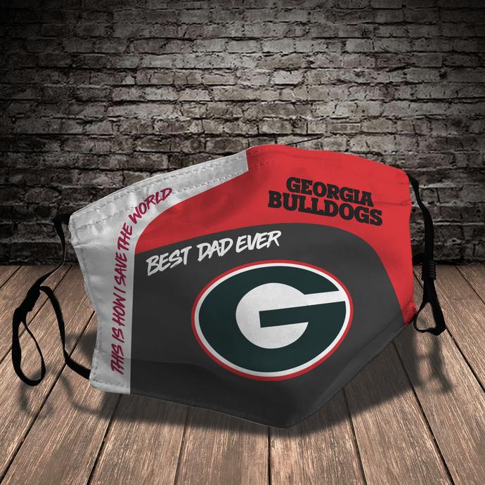 Georgia Bulldogs face mask, football, face protection, four layers, pleated,