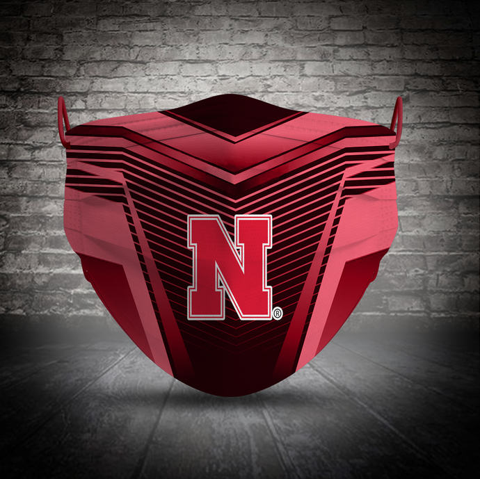 Nebraska Huskers face mask, football, face protection, four layers, pleated,