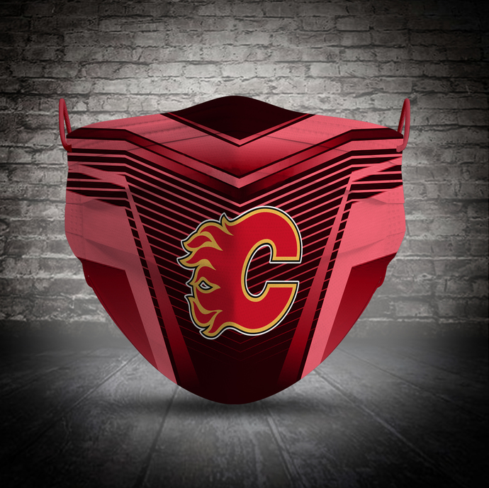 Calgary Flames face mask, football, face protection, four layers, pleated,