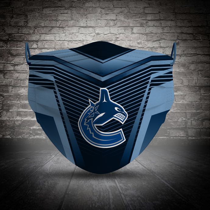 Vancouver Canucks face mask, football, face protection, four layers, pleated,