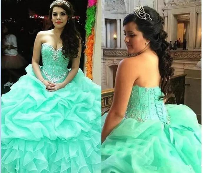 Sweetheart Mint Green Tulle Ruffles Ball Gown Quinceanera Dresses