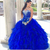 Royal Blue Tulle Crystal Beading Sweet 16 Dress Ruffles Quinceanera Dresses