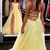 Sexy Backless Yellow Appliques Tulle Long Prom Dress, Backless Evening Dress