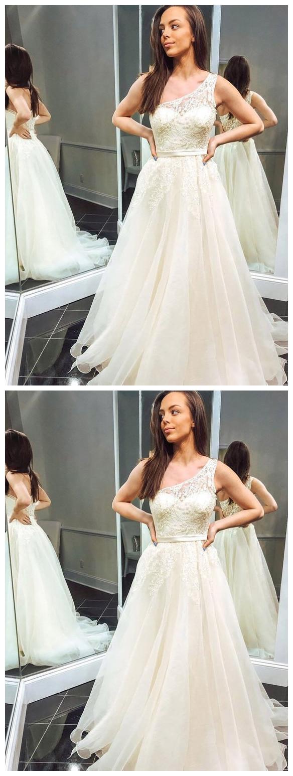 Appliques Ivory One Shoulder Tulle Long Wedding Dress