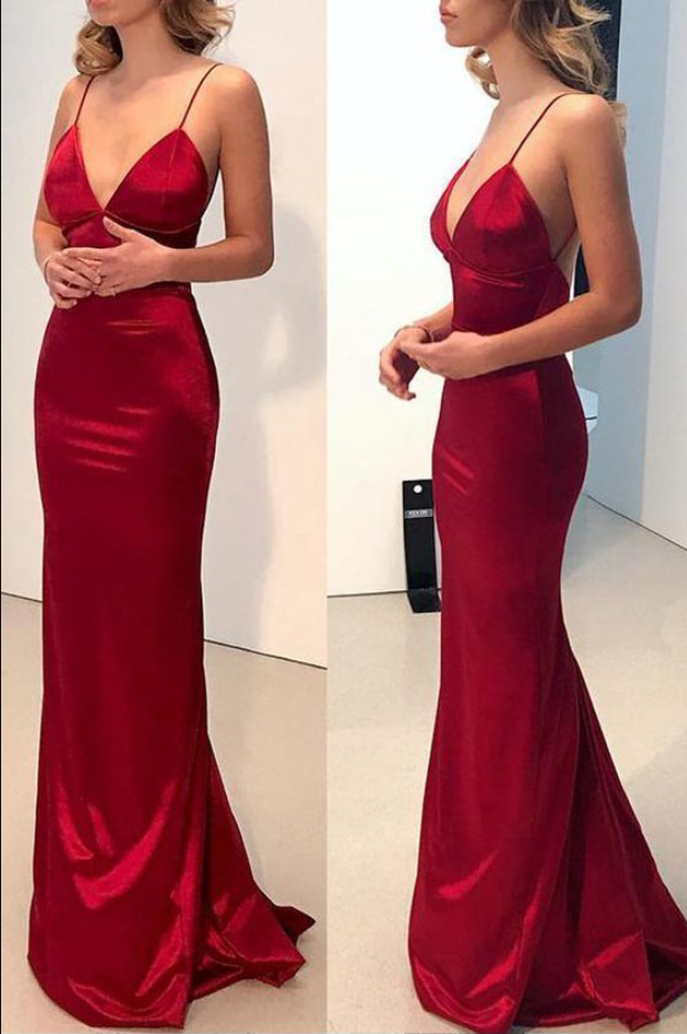 Sexy V Neck Backless Red Mermaid Long Prom Dress, Simple Evening Dress