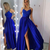 A-Line Royal Blue Slit Appliques Prom Dress, Long Straps Evening Dress