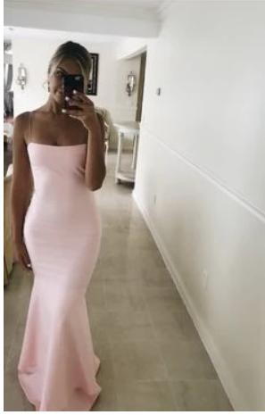 Sexy Sleeveless Pink Mermaid Evening Dress, Evening Gown