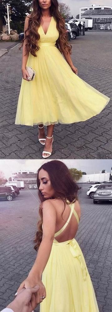 Sexy V neck Backless Yellow Prom Dress, Evening Party Dress   Sexy V neck