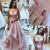 Pretty Tulle Pink V neck Long Prom Dresses with Straps