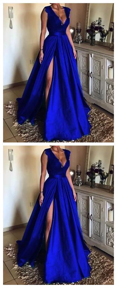 Sexy Split Slit Dark Blue Satin Long Evening Dress